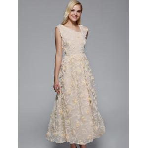 Long Floral Semi Formal Prom Party Dress -