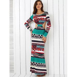 Long Sleeves Printed Open Back Maxi Dress -