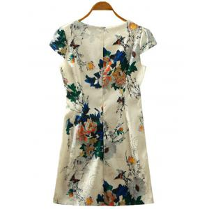 Retro Peony Floral Print Cape Sleeve Cheongsam Dress -