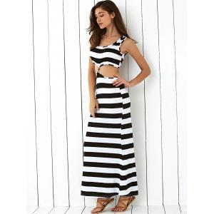 Cut Out Open-Back Striped Maxi Dress -
