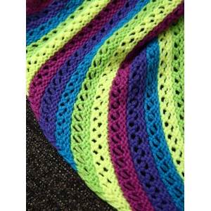 Stripe Pattern Hollow Out Knitting Mermaid Shape Blanket - COLORMIX