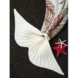 Knitting Colorful Line Pattern Mermaid Shape Blanket - WHITE