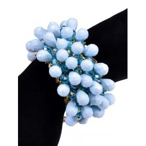 Faux Crystal Water Drop Beaded Bracelet - BLUE