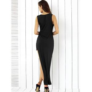Alluring Plunge Neck Lace Spliced Black Sheath Asymmetric Dress -