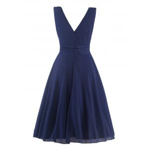 Mesh Insert Plunge Sleeveless Skater q940 Swing Dress - PURPLISH BLUE 2XL