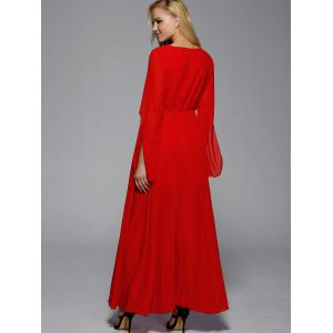 Maxi V Neck Flare Long Sleeve Prom Evening Dress - RED XL