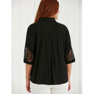 Plus Size Lace Spliced Hollow Out Blouse - BLACK 5XL