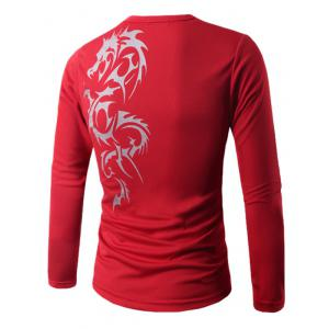 Round Neck Long Sleeve Dragon Print T-Shirt -