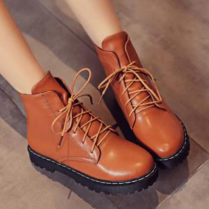 Flat Heel PU Leather Combat Boots -