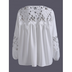 Plus Size Lace Crochet Spliced Blouse - WHITE 5XL