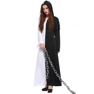 Hooded Color Block Maxi Hallowmas Dress -
