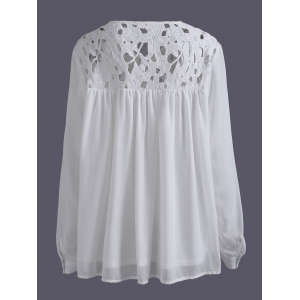 Plus Size Lace Spliced Crochet Long Sleeve Blouse -