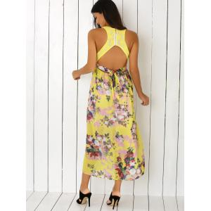 Floral Print Side Slit Cut Out Maxi Dress -