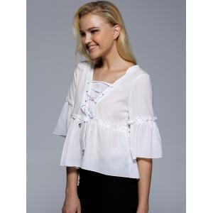 Flare Sleeve Flounce Ruffles Lace-Up Blouse -