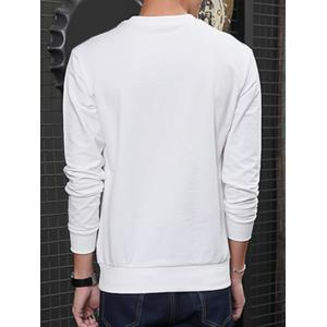 Round Neck Color Block Spliced Design Long Sleeve Sweatshirt - WHITE L
