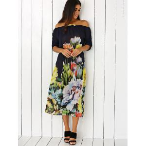 Off-The-Shoulder Floral Print Chiffon Dress -
