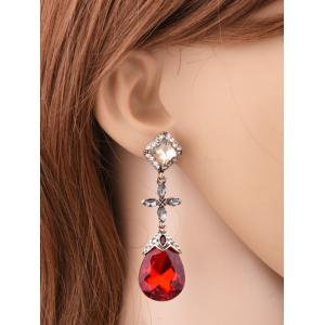 Rhinestone Cross Geometric Water Drop Earrings -