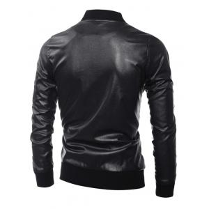 Zippered Rib Splicing Stand Collar Long Sleeves PU Leather Jacket - BLACK 3XL