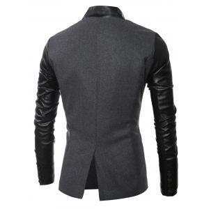Stand Collar Long Sleeves Slit Back Leather Spliced Woolen Jacket -
