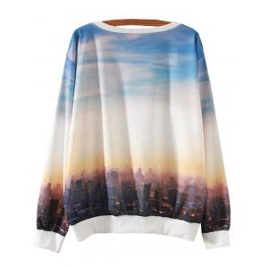 Sunset City Letter Print Loose Sweatshirt - COLORMIX XL