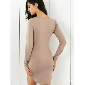 Long Sleeve Pure Color Club Dress -