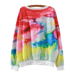 Letter Colorful Print Loose Sweatshirt -