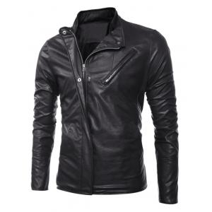 Side Zip Up Long Sleeves Faux Leather Jacket - BLACK XL