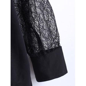 Bow Collar Lace Sleeve Chiffon Blouse -