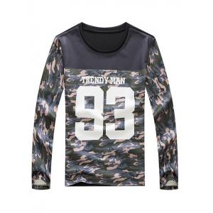 Camouflage and Letter Print Spliced Design Round Neck Long Sleeve Sweatshirt - COLORMIX XL