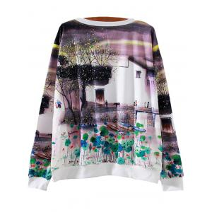 Ink Painting Lily Loose Sweatshirt -