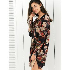Abstract Face Print Side Slit Baggy Dress -