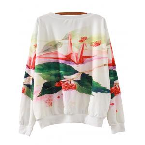 Colorful Paper Crane Print Loose Sweatshirt -