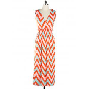 Bohemian Plunge Neck Sleeveless Zig Zag Dress -