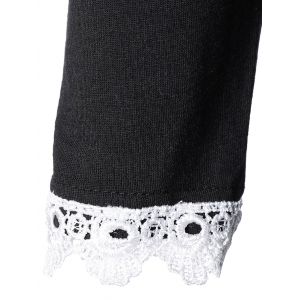 Crochet-Trim High Waist Flare Dress -