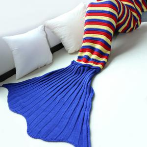 Good Quality Comfortable Stripe Knitting Sofa Mermaid Blanket -