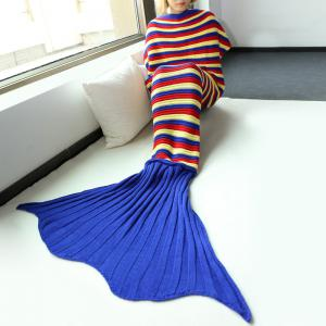 Bonne qualité Stripe confortable Knitting Sofa Mermaid Blanket - Multicolore