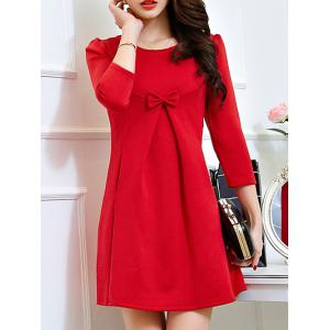 Lace Long Sleeve Plus Size Mini Dress - RED 2XL