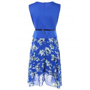 Sleeveless Spliced Floral Print Chiffon Peplum Dress - BLUE 2XL