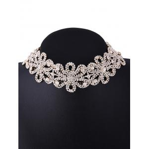 Rhinestone Hollowed Flower Necklace -