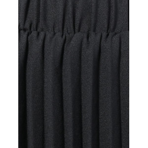 Elastic Waist Pleated Skirt - BLACK ONE SIZE