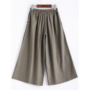 Drawstring Crop Wide Leg Culotte Pants -