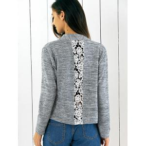 Lace Splicing Asymmetrical Cardigan - GRAY XL