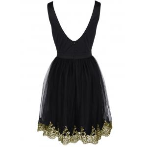 Alluring Women's Floral Embroidered Lace Spliced Dress -