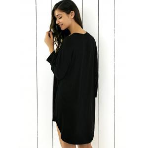 Loose-Fitting Buttoned Asymmetric Dress - BLACK 2XL