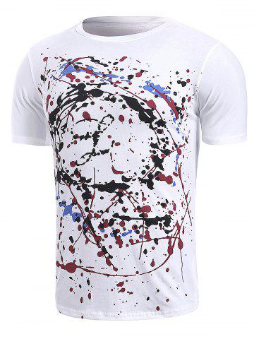 Hot Splatter Paint Printed Short Sleeve T-Shirt - M WHITE Mobile