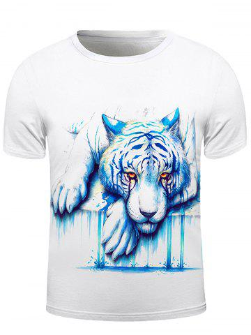 New Round Neck 3D Crying Lion Print Short Sleeve Stylish T-Shirt For Men WHITE 2XL