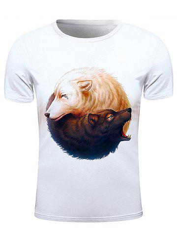 Chic Round Neck 3D Wolfs Print Short Sleeve Stylish T-Shirt For Men WHITE 2XL
