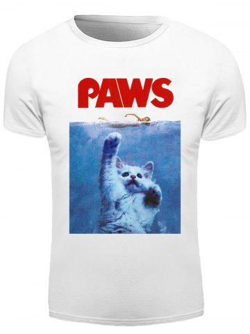 3D Letter Cat Print Round Neck Short Sleeve T-Shirt For Men - White - M