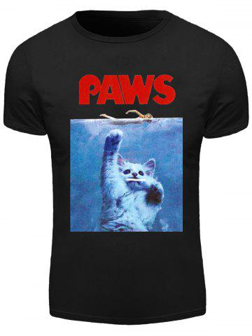 Outfits 3D Letter Cat Print Round Neck Short Sleeve T-Shirt For Men