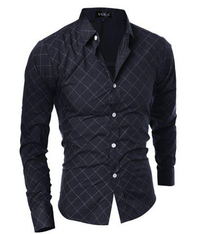 Buy Grid Long Sleeve Button Up Shirt For Men BLACK 2XL